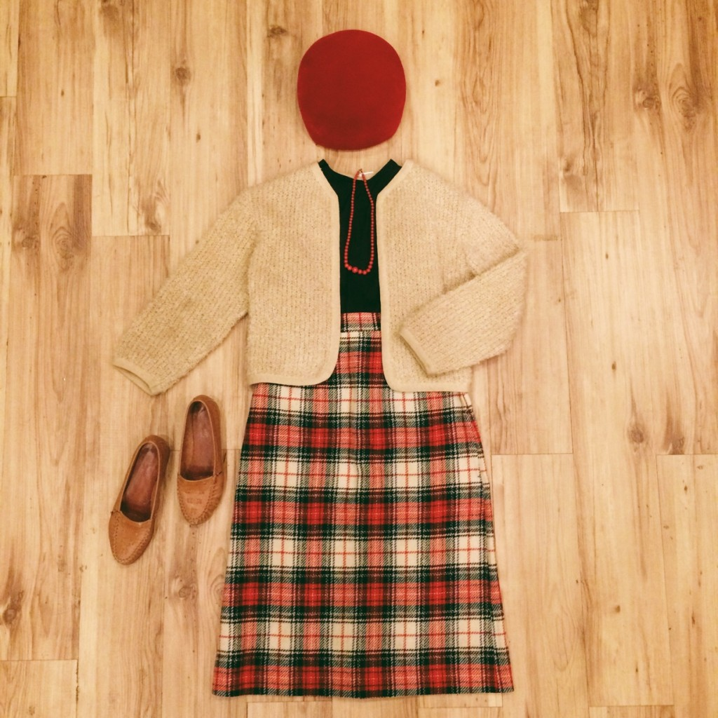 1960s simple black crop top, M, $25 1960s loopy knit tan cardigan, S, $33 1950s plaid skirt, XS, $25 1960s red beaded necklace, $14 1960s red felt beret, $14 1970s brown leather flats, 6, $23